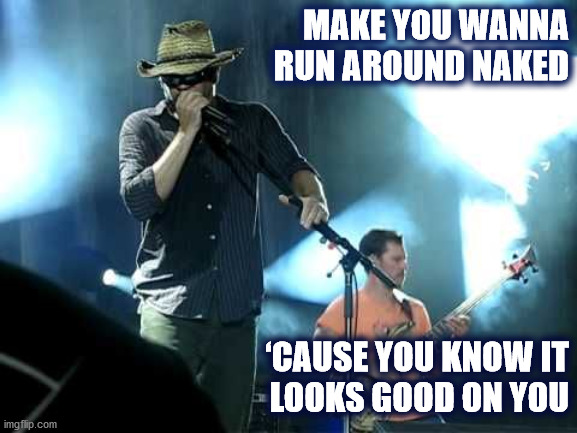 Dave sez it looks good on you |  MAKE YOU WANNA RUN AROUND NAKED; 'CAUSE YOU KNOW IT LOOKS GOOD ON YOU | image tagged in dmb,dave matthews,dave,dave matthews band,naked,good | made w/ Imgflip meme maker