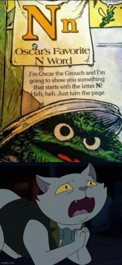 Oh heck no | image tagged in the cat,oscar the grouch,n word | made w/ Imgflip meme maker