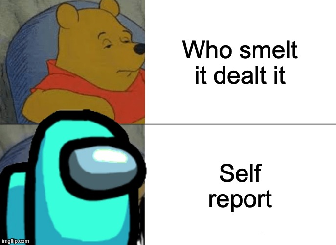 Tuxedo Winnie The Pooh |  Who smelt it dealt it; Self report | image tagged in memes,tuxedo winnie the pooh | made w/ Imgflip meme maker