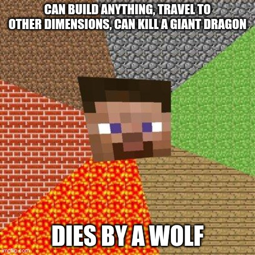 minecraft meme |  CAN BUILD ANYTHING, TRAVEL TO OTHER DIMENSIONS, CAN KILL A GIANT DRAGON; DIES BY A WOLF | image tagged in minecraft steve,death by wolf | made w/ Imgflip meme maker