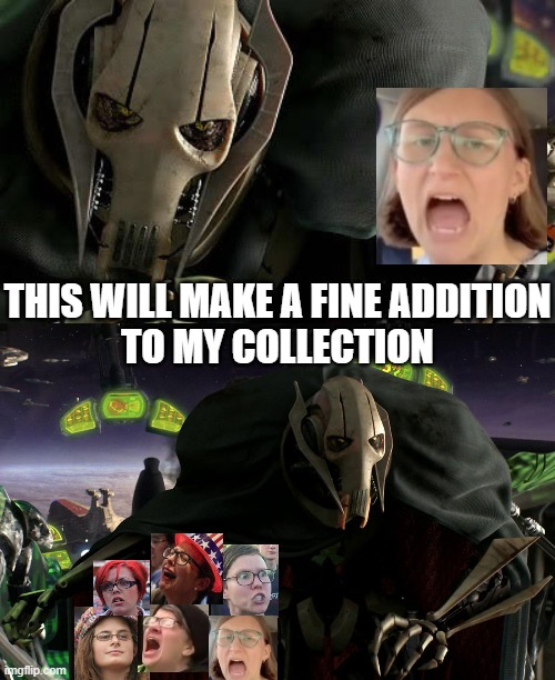 A fine addition to the libaby collection |  THIS WILL MAKE A FINE ADDITION TO MY COLLECTION | image tagged in grievous a fine addition to my collection,triggered feminist,triggered liberal,college liberal,screaming liberal | made w/ Imgflip meme maker
