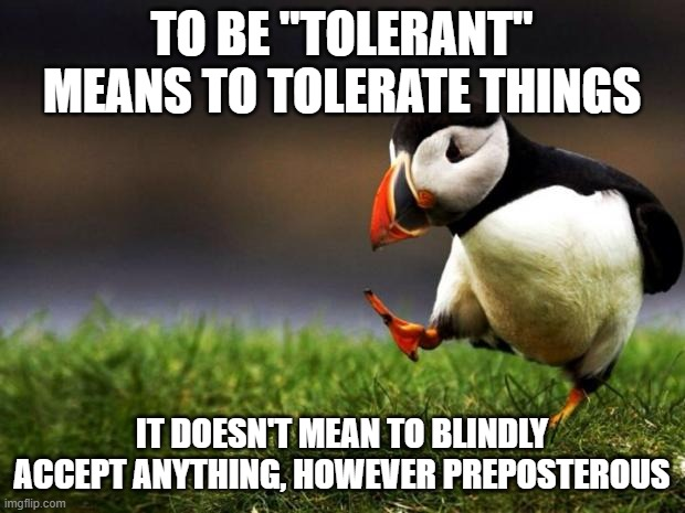 "How the hell did this even become an unpopular opinion? |  TO BE ""TOLERANT"" MEANS TO TOLERATE THINGS; IT DOESN'T MEAN TO BLINDLY ACCEPT ANYTHING, HOWEVER PREPOSTEROUS 