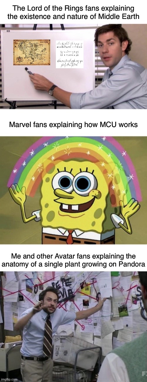 Avatar Science |  The Lord of the Rings fans explaining the existence and nature of Middle Earth; Marvel fans explaining how MCU works; Me and other Avatar fans explaining the anatomy of a single plant growing on Pandora | image tagged in avatar,the lord of the rings,hobbit,marvel,avengers,sci-fi | made w/ Imgflip meme maker