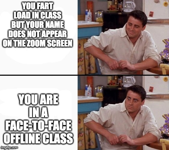 Comprehending Joey |  YOU FART LOAD IN CLASS BUT YOUR NAME DOES NOT APPEAR ON THE ZOOM SCREEN; YOU ARE IN A FACE-TO-FACE OFFLINE CLASS | image tagged in comprehending joey,school | made w/ Imgflip meme maker