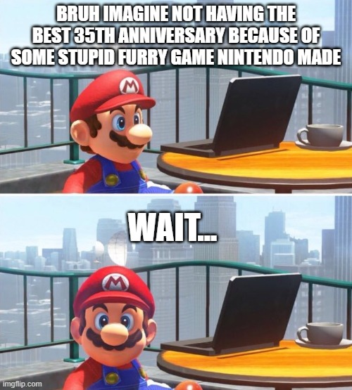 Why u do this Nintendo |  BRUH IMAGINE NOT HAVING THE BEST 35TH ANNIVERSARY BECAUSE OF SOME STUPID FURRY GAME NINTENDO MADE; WAIT... | image tagged in mario looks at computer | made w/ Imgflip meme maker