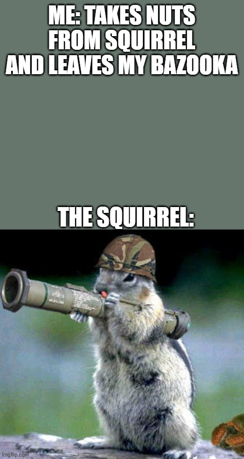 gimme the nuts |  ME: TAKES NUTS FROM SQUIRREL AND LEAVES MY BAZOOKA; THE SQUIRREL: | image tagged in memes,bazooka squirrel | made w/ Imgflip meme maker