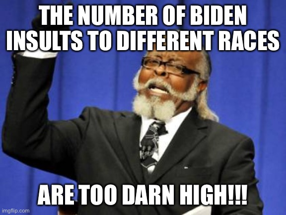 This is true |  THE NUMBER OF BIDEN INSULTS TO DIFFERENT RACES; ARE TOO DARN HIGH!!! | image tagged in memes,too damn high,funny,joe biden,politics,racism | made w/ Imgflip meme maker