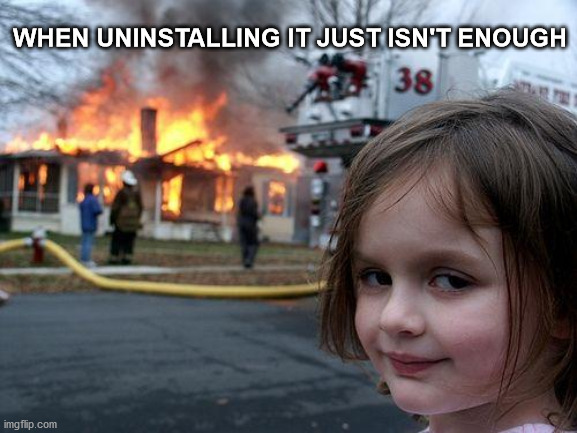 Burn, Among Us. Just burn. |  WHEN UNINSTALLING IT JUST ISN'T ENOUGH | image tagged in memes,disaster girl,among us,fun,burn,rest in peace | made w/ Imgflip meme maker