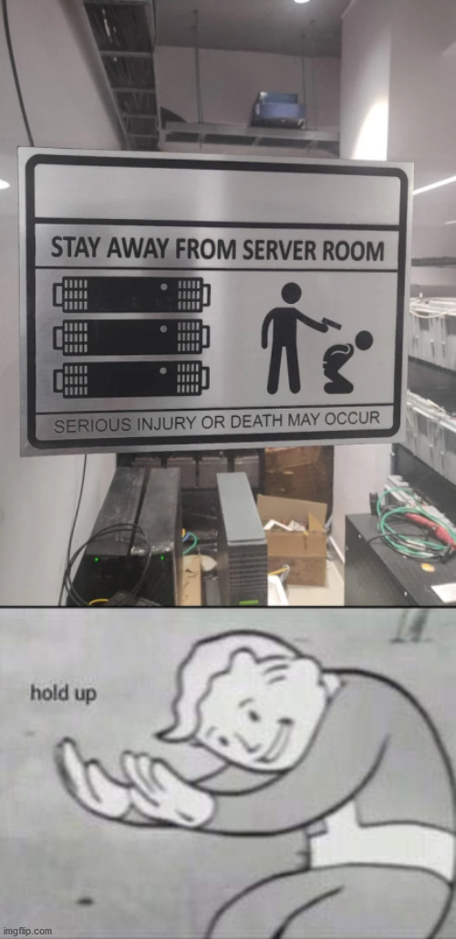 server presence = death | image tagged in fallout hold up,serious,death,server | made w/ Imgflip meme maker