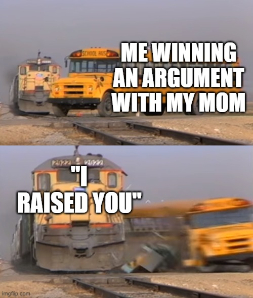 "The deadly phrase |  ME WINNING AN ARGUMENT WITH MY MOM; ""I RAISED YOU"" 