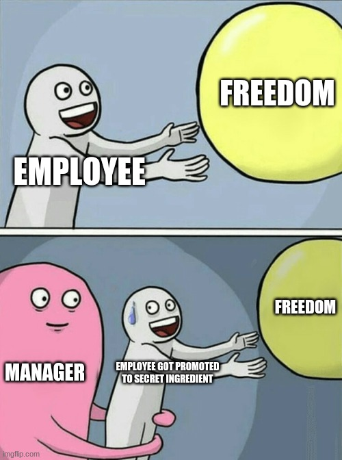 Running Away Balloon Meme | EMPLOYEE FREEDOM MANAGER EMPLOYEE GOT PROMOTED TO SECRET INGREDIENT FREEDOM | image tagged in memes,running away balloon | made w/ Imgflip meme maker