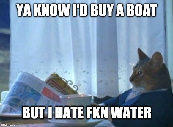 I Should Buy A Boat Cat |  YA KNOW I'D BUY A BOAT; BUT I HATE FKN WATER | image tagged in memes,i should buy a boat cat | made w/ Imgflip meme maker
