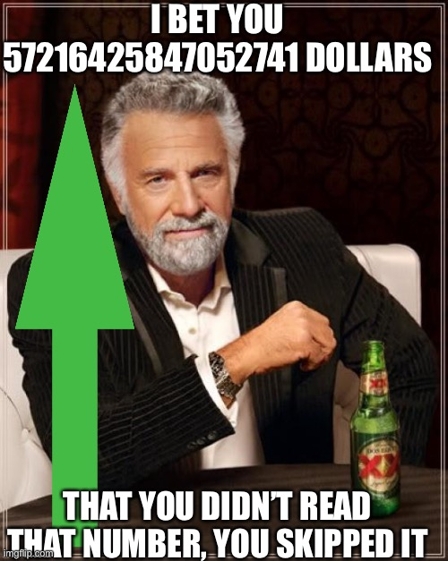 No money included |  I BET YOU 57216425847052741 DOLLARS; THAT YOU DIDN'T READ THAT NUMBER, YOU SKIPPED IT | image tagged in memes,the most interesting man in the world | made w/ Imgflip meme maker