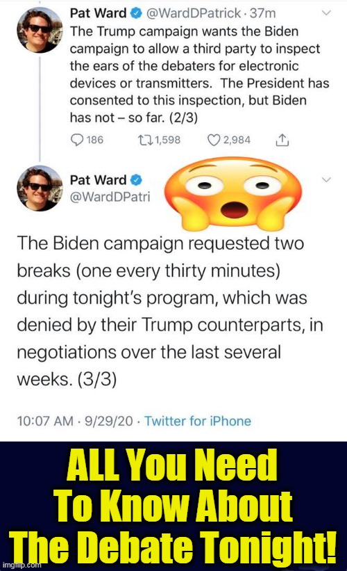Cheaters Gotta Cheat! |  ALL You Need To Know About The Debate Tonight! | image tagged in political meme,politics,creepy joe biden,cheaters,presidential debate,democratic party | made w/ Imgflip meme maker