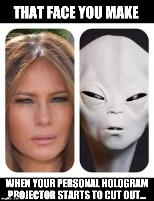 Melalien |  THAT FACE YOU MAKE; WHEN YOUR PERSONAL HOLOGRAM PROJECTOR STARTS TO CUT OUT... | image tagged in melania trump,aliens,disguise | made w/ Imgflip meme maker