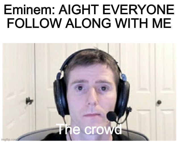 EVERYBODY FROM THE 313 PUT YOUR MF HANDS UP AND FOLLOW MW |  Eminem: AIGHT EVERYONE FOLLOW ALONG WITH ME; The crowd | image tagged in sad linus,eminem,detroit | made w/ Imgflip meme maker