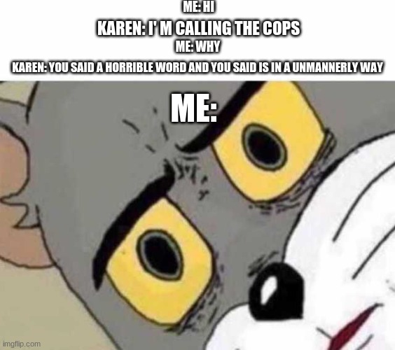 Karen be like |  ME: HI; KAREN: I' M CALLING THE COPS; ME: WHY; KAREN: YOU SAID A HORRIBLE WORD AND YOU SAID IS IN A UNMANNERLY WAY; ME: | image tagged in tom cat unsettled close up | made w/ Imgflip meme maker