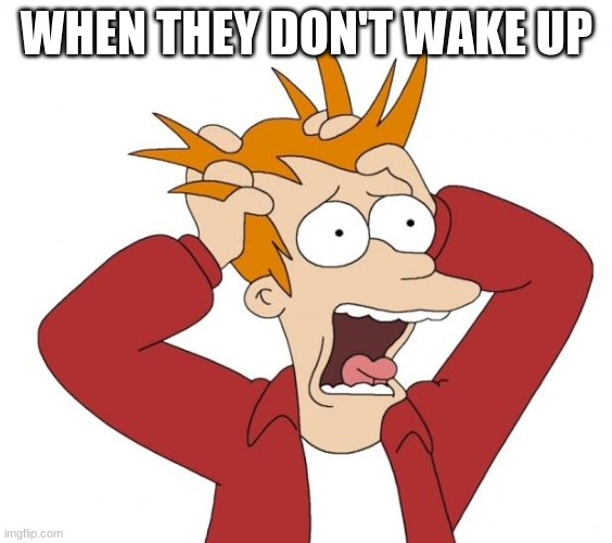 Panic | WHEN THEY DON'T WAKE UP | image tagged in panic | made w/ Imgflip meme maker