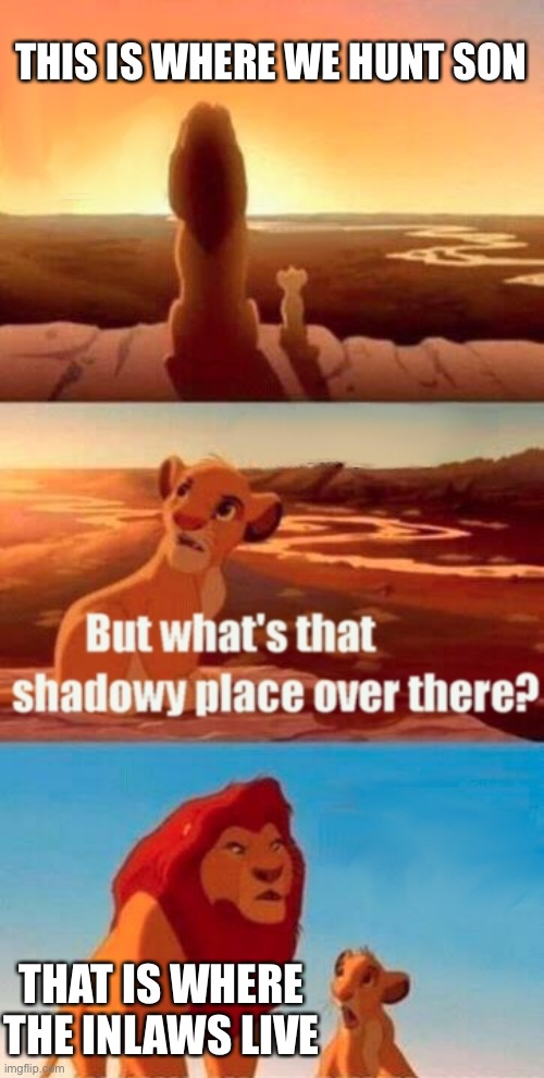 Simba Shadowy Place Meme |  THIS IS WHERE WE HUNT SON; THAT IS WHERE THE INLAWS LIVE | image tagged in memes,simba shadowy place | made w/ Imgflip meme maker