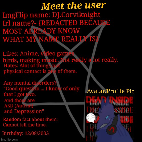 For those who want to get know me. And come on y'all start postin' them memes. | image tagged in meet the user,more like meat,okay i'll stop with the puns,well then,stop reading the tags | made w/ Imgflip meme maker
