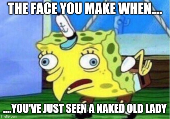 When You're About To Go Blind....... |  THE FACE YOU MAKE WHEN.... ....YOU'VE JUST SEEN A NAKED OLD LADY | image tagged in memes,mocking spongebob | made w/ Imgflip meme maker