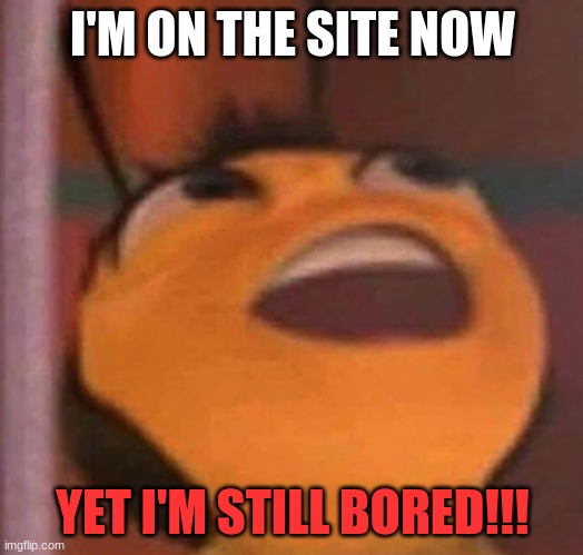 Bee Movie | I'M ON THE SITE NOW YET I'M STILL BORED!!! | image tagged in bee movie | made w/ Imgflip meme maker