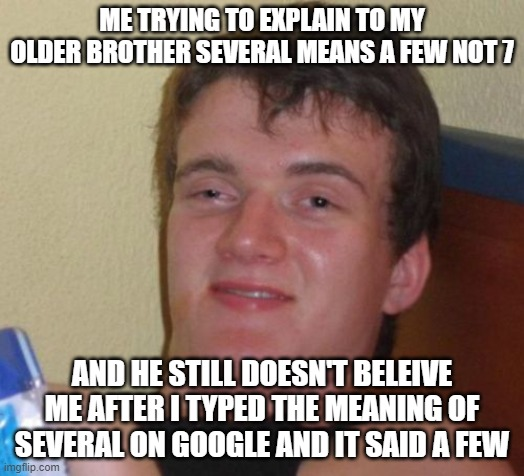 10 Guy Meme |  ME TRYING TO EXPLAIN TO MY OLDER BROTHER SEVERAL MEANS A FEW NOT 7; AND HE STILL DOESN'T BELEIVE ME AFTER I TYPED THE MEANING OF SEVERAL ON GOOGLE AND IT SAID A FEW | image tagged in memes,10 guy | made w/ Imgflip meme maker