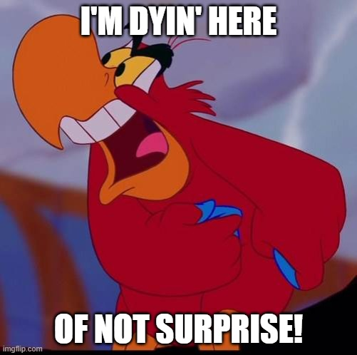 Iago |  I'M DYIN' HERE; OF NOT SURPRISE! | image tagged in iago | made w/ Imgflip meme maker