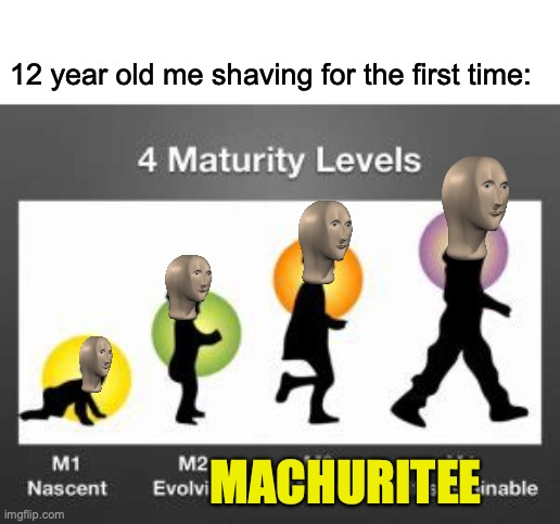 Machuritee |  12 year old me shaving for the first time:; MACHURITEE | image tagged in meme man,puberty,shaving | made w/ Imgflip meme maker