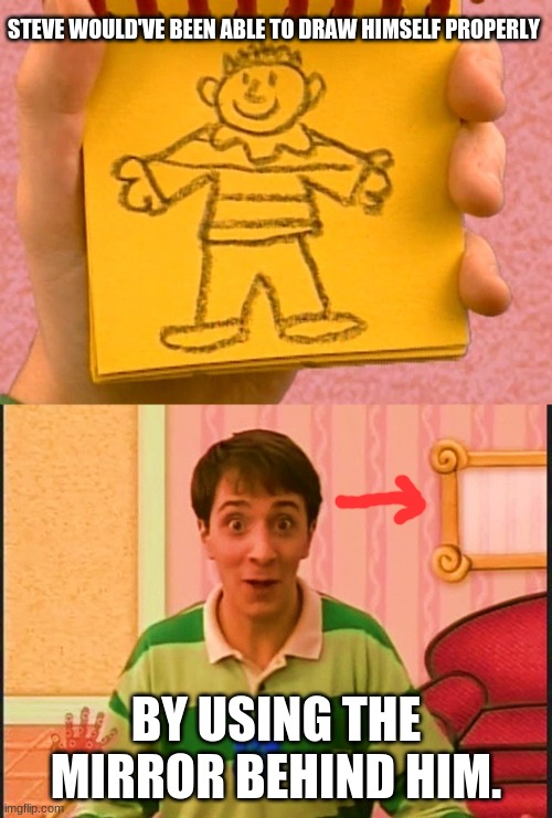 Just saying. |  STEVE WOULD'VE BEEN ABLE TO DRAW HIMSELF PROPERLY; BY USING THE MIRROR BEHIND HIM. | image tagged in memes,throwback thursday,blue's clues,nick jr,nickelodeon,cartoon logic | made w/ Imgflip meme maker