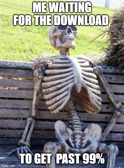 Waiting Skeleton |  ME WAITING FOR THE DOWNLOAD; TO GET  PAST 99% | image tagged in memes,waiting skeleton | made w/ Imgflip meme maker