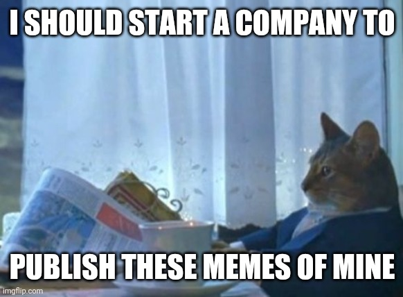 conceivably one could make the front page everyday with enough resources |  I SHOULD START A COMPANY TO; PUBLISH THESE MEMES OF MINE | image tagged in memes,i should buy a boat cat | made w/ Imgflip meme maker