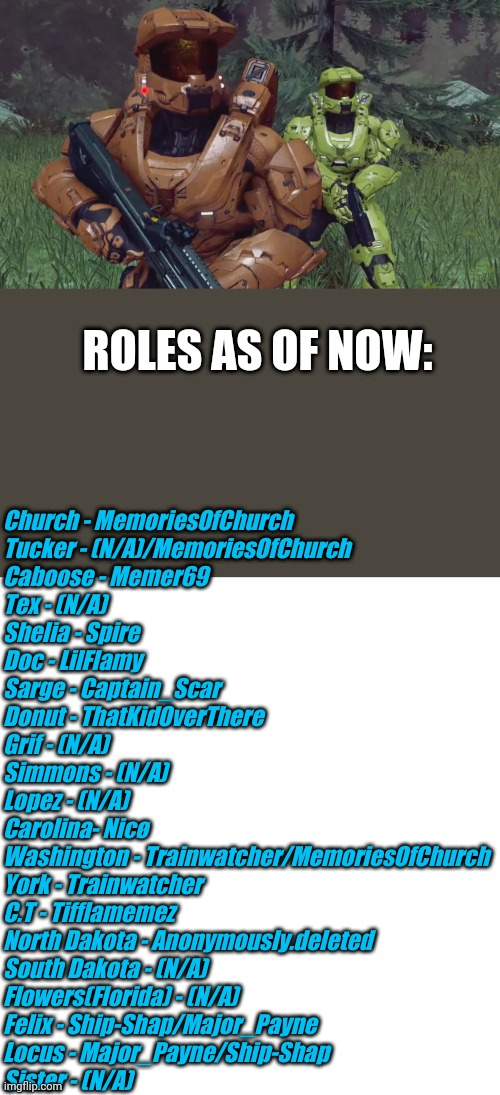 ROLES AS OF NOW:; Church - MemoriesOfChurch Tucker - (N/A)/MemoriesOfChurch Caboose - Memer69 Tex - (N/A) Shelia - Spire Doc - LilFlamy Sarge - Captain_Scar Donut - ThatKidOverThere Grif - (N/A) Simmons - (N/A)  Lopez - (N/A) Carolina- Nicø Washington - Trainwatcher/MemoriesOfChurch York - Trainwatcher C.T - Tifflamemez North Dakota - Anonymously.deleted South Dakota - (N/A) Flowers(Florida) - (N/A) Felix - Ship-Shap/Major_Payne Locus - Major_Payne/Ship-Shap Sister - (N/A) | image tagged in blank white template | made w/ Imgflip meme maker
