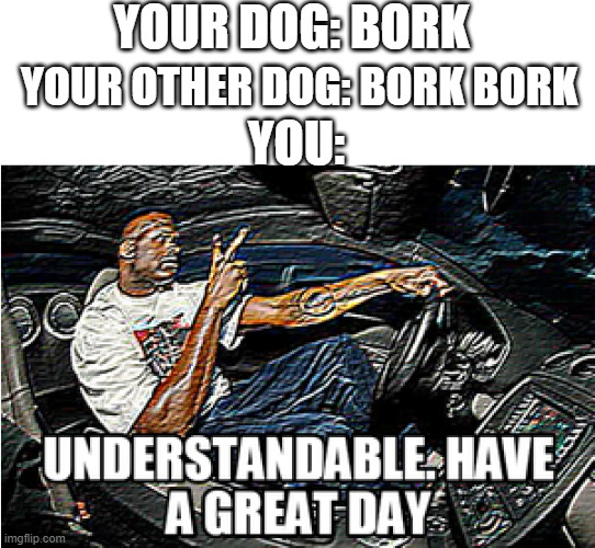 You and your Dog |  YOUR DOG: BORK; YOUR OTHER DOG: BORK BORK; YOU: | image tagged in understandable have a great day | made w/ Imgflip meme maker