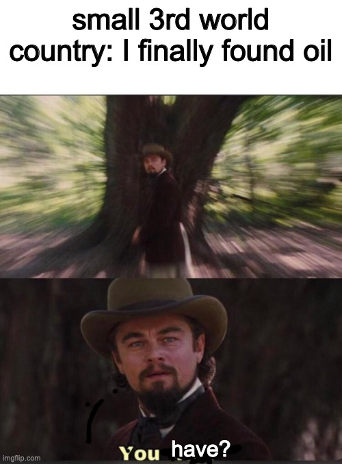 You will? Leonardo, django |  small 3rd world country: I finally found oil; have? | image tagged in you will leonardo django,america,'murica,memes,leonardo dicaprio | made w/ Imgflip meme maker