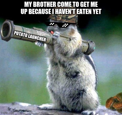 Bazooka Squirrel |  MY BROTHER COME TO GET ME UP BECAUSE I HAVEN'T EATEN YET; POTATO LAUNCHER | image tagged in memes,bazooka squirrel | made w/ Imgflip meme maker