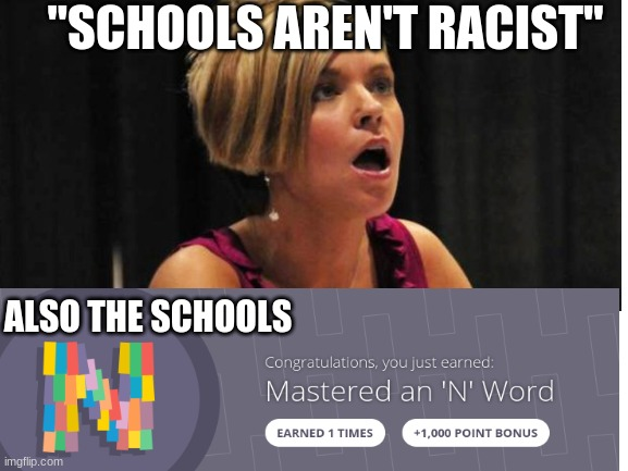 "multiple N-words |  ""SCHOOLS AREN'T RACIST""; ALSO THE SCHOOLS 