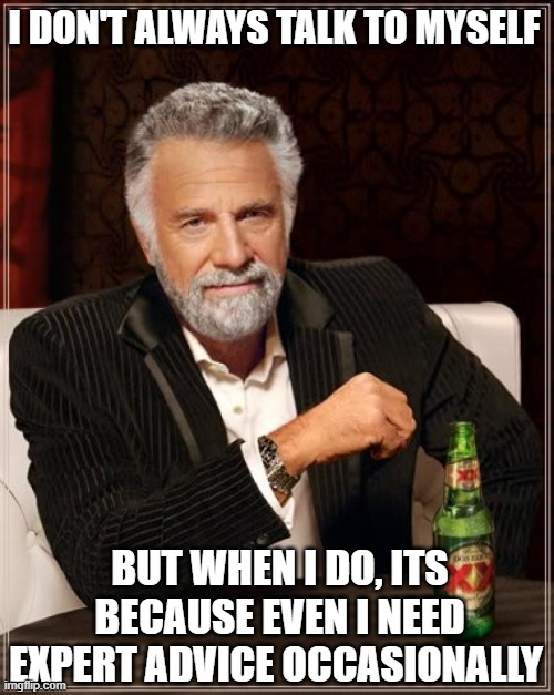 Self-Expert Advice |  I DON'T ALWAYS TALK TO MYSELF; BUT WHEN I DO, ITS BECAUSE EVEN I NEED EXPERT ADVICE OCCASIONALLY | image tagged in memes,the most interesting man in the world | made w/ Imgflip meme maker