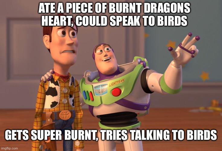 Not the same thing but close enough, crows spites truth |  ATE A PIECE OF BURNT DRAGONS HEART, COULD SPEAK TO BIRDS; GETS SUPER BURNT, TRIES TALKING TO BIRDS | image tagged in memes,x x everywhere | made w/ Imgflip meme maker