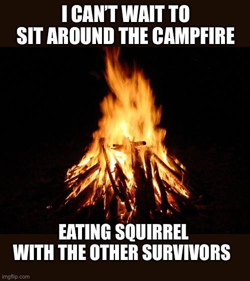 Right before the zombie outbreak of 2021 |  I CAN'T WAIT TO SIT AROUND THE CAMPFIRE; EATING SQUIRREL WITH THE OTHER SURVIVORS | image tagged in campfire,squirrel,survivor,end of the world,2020,eating | made w/ Imgflip meme maker