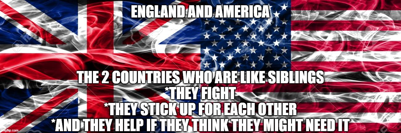 love and hate for eachother |  ENGLAND AND AMERICA; THE 2 COUNTRIES WHO ARE LIKE SIBLINGS *THEY FIGHT *THEY STICK UP FOR EACH OTHER *AND THEY HELP IF THEY THINK THEY MIGHT NEED IT | image tagged in england,america,siblings,love,hate,countries | made w/ Imgflip meme maker