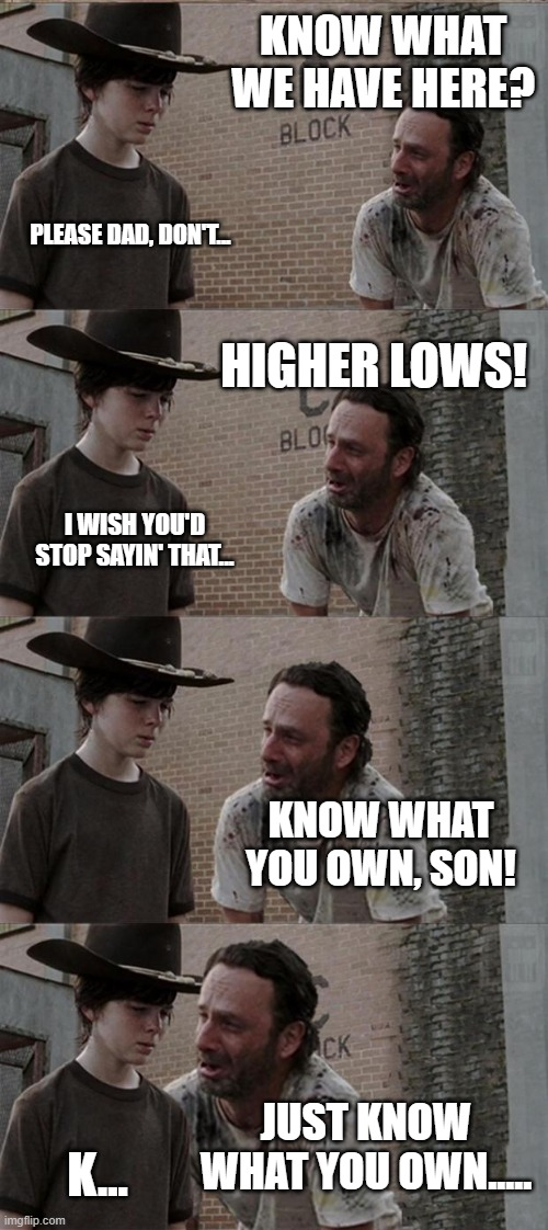 Know what you own |  KNOW WHAT WE HAVE HERE? PLEASE DAD, DON'T... HIGHER LOWS! I WISH YOU'D STOP SAYIN' THAT... KNOW WHAT YOU OWN, SON! JUST KNOW WHAT YOU OWN..... K... | image tagged in memes,rick and carl long | made w/ Imgflip meme maker