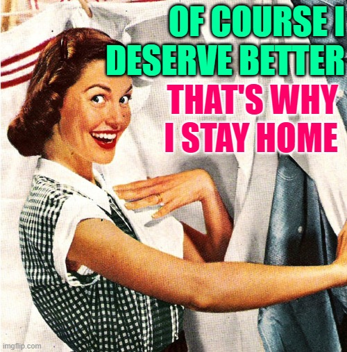 Better Housewife |  OF COURSE I DESERVE BETTER; THAT'S WHY I STAY HOME | image tagged in vintage laundry woman,housewife,sayings,sassy,stay at home,funny memes | made w/ Imgflip meme maker