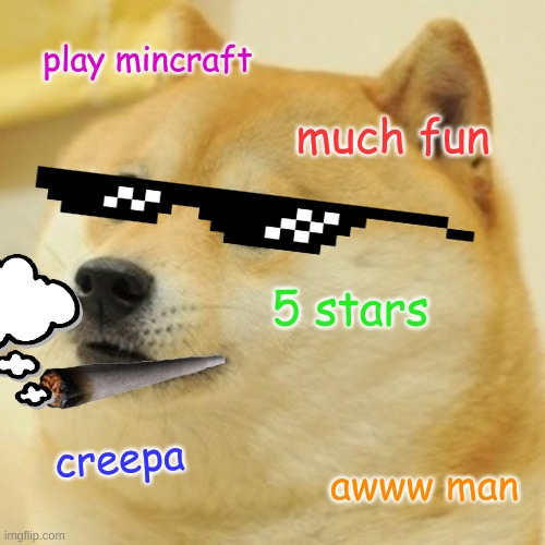 doge meme |  play mincraft; much fun; 5 stars; creepa; awww man | image tagged in memes,doge | made w/ Imgflip meme maker