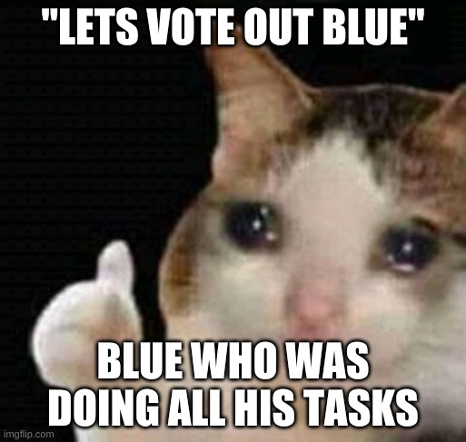 "sad thumbs up cat |  ""LETS VOTE OUT BLUE""; BLUE WHO WAS DOING ALL HIS TASKS 
