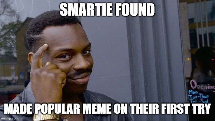 Roll Safe Think About It Meme | SMARTIE FOUND MADE POPULAR MEME ON THEIR FIRST TRY | image tagged in memes,roll safe think about it | made w/ Imgflip meme maker
