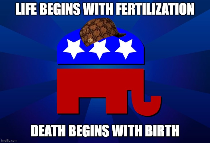 Life Begins With Fertilization; Death Begins With Birth |  LIFE BEGINS WITH FERTILIZATION; DEATH BEGINS WITH BIRTH | image tagged in gop | made w/ Imgflip meme maker