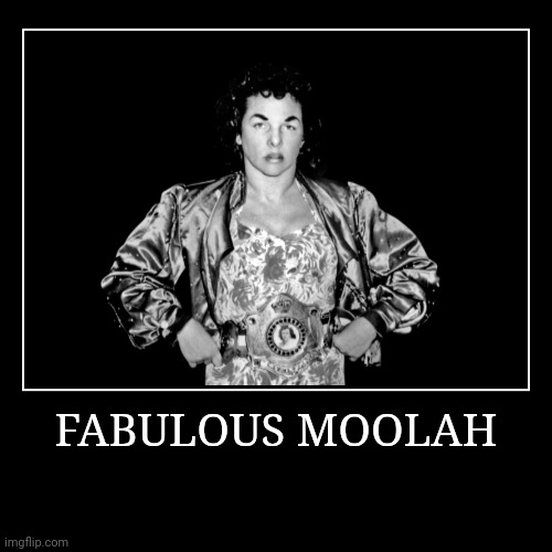 Fabulous Moolah | FABULOUS MOOLAH | | image tagged in demotivationals,wwe | made w/ Imgflip demotivational maker
