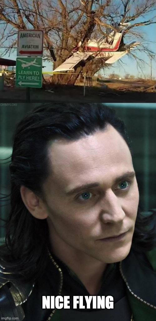 idk |  NICE FLYING | image tagged in memes,nice guy loki,fails | made w/ Imgflip meme maker