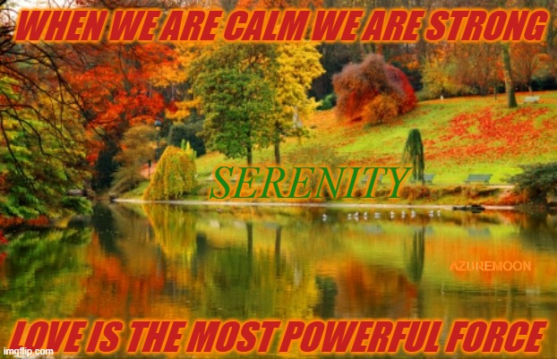SEEK IN THE CALM |  WHEN WE ARE CALM WE ARE STRONG; SERENITY; AZUREMOON; LOVE IS THE MOST POWERFUL FORCE | image tagged in peace,joy,serenity,i love you,love,power | made w/ Imgflip meme maker